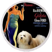 Havanese Art - Gilda Movie Poster Round Beach Towel