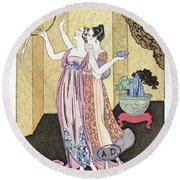 Have You Had A Good Dinner Jacquot? Round Beach Towel by Georges Barbier