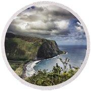 Hawaii Coastline Kauai  Round Beach Towel