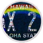 Hawaii License Plate Round Beach Towel