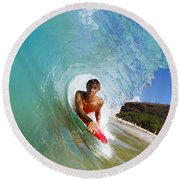 Hawaii, Maui, Makena - Big Beach, Boogie Boarder Riding Barrel Of Beautiful Wave Along Shore. Round Beach Towel