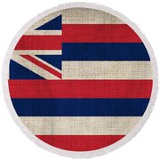 Hawaii State Flag  Round Beach Towel by Pixel Chimp