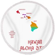 Hawaii State Map Collection 2 Round Beach Towel