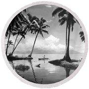 Hawaii Tropical Scene Round Beach Towel