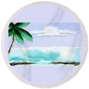 Hawaii Waves Round Beach Towel