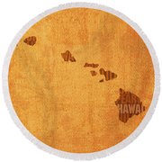 Hawaii Word Art State Map On Canvas Round Beach Towel
