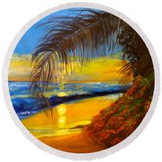 Hawaiian Coastal Sunset Round Beach Towel