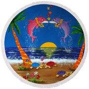 Hawaiian Island Love Round Beach Towel