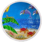 Hawaiian Lei Day Round Beach Towel