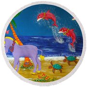 Hawaiian Lei Parade Round Beach Towel