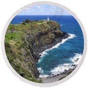 Hawaiian Lighthouse Round Beach Towel