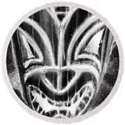 Hawaiian Mask Negative Black And White Round Beach Towel