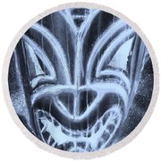Hawaiian Mask Negative Cyan Round Beach Towel