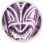 Hawaiian Mask Negative Pink Round Beach Towel