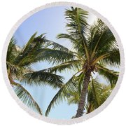Hawaiian Palm Trees Round Beach Towel