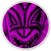 Hawaiian Purple Mask Round Beach Towel
