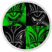 Hawaiian Masks Black Green Round Beach Towel