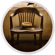 Hawk And Fedora On Chair Round Beach Towel