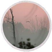 Hawk In Morning Fog Round Beach Towel