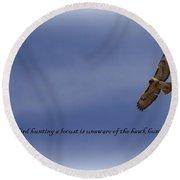 Hawk - Soaring Round Beach Towel
