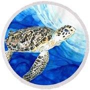 Hawksbill Sea Turtle 2 Round Beach Towel