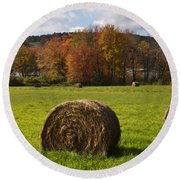 Hay Bale In Country Field Round Beach Towel