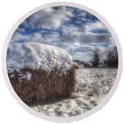Hay Bale In The Snow Round Beach Towel