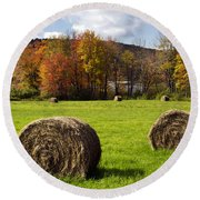 Hay Bales And Fall Colors Round Beach Towel