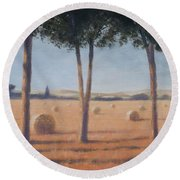 Hay Bales And Pines, Pienza, 2012 Acrylic On Canvas Round Beach Towel