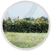 Hay Bales And Sunflowers Round Beach Towel