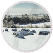 Hay Bales Covered With Snow And Ice In Maine Round Beach Towel