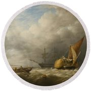 Hay Barges In The Thames Estuary Round Beach Towel