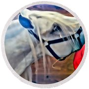 Hay For The White Horse Round Beach Towel