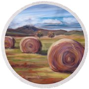Hay Harvest Round Beach Towel
