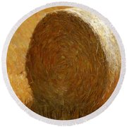 Hay In The Field Round Beach Towel