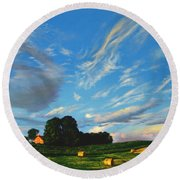 Hay Rolls On The Farm Series One In Westmoreland County Pennsylvania Round Beach Towel
