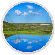 Hayden Valley Cloud Reflection Yellowstone National Park Round Beach Towel