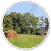 Haying Season At Captain Ed's Homestead Round Beach Towel