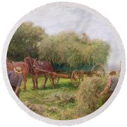 Haymaking Round Beach Towel by Arthur Hopkins