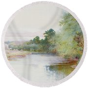 Haymaking Near Marlow Round Beach Towel