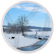 Hays Creek Winter Round Beach Towel