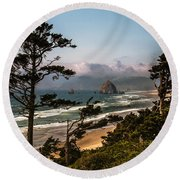 Haystack Framed Round Beach Towel by Robert Bales