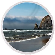 Haystack Round Beach Towel by Robert Bales