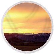 Haystack Rocky Mountain Front Range Sunset Panorama Round Beach Towel