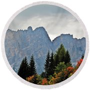 Haze And The Dolomites Round Beach Towel