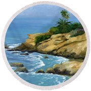 Hazy Laguna Morning Round Beach Towel