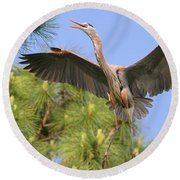 Hb In The Pines Round Beach Towel