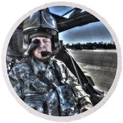 Hdr Image Of A Pilot Equipped Round Beach Towel