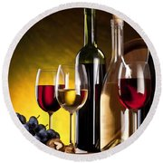 Hdr Style Wine Glasses Bottle Cask And Grapes Round Beach Towel