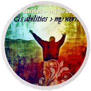 He Is Greater Round Beach Towel